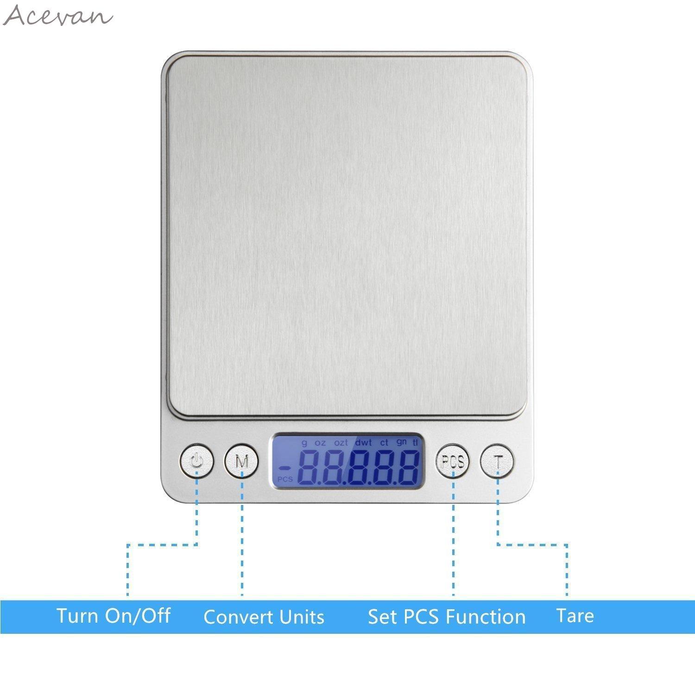 Acevan 500g/0 01g Digital Pocket Stainless Jewelry & Kitchen food